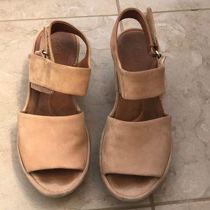 Clarks suede wedge sandals. Size 7.